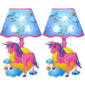 com-four® 2X Einhorn LED Wand Sticker, Kunststoff Wandleuchte in blau/pink, 27 x 16,5 cm (02 Stück - blau/pink)