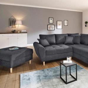 Home Affaire Eck-Sofa »Rice«, grau, Inkl. loser Zier- und Rückenkissen, komfortabler Federkern, hoher Sitzkomfort