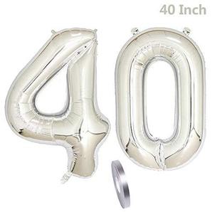 2 Luftballons Zahl 40,Nummer 40 Geburtstags Dekoration Silber Mädchen,40 Silver Aufblasbar Helium Folienballon ,Riesen Helium Ballons Figuren für Party Deko, Valentinstag Abschlussball (xxxl 100cm)