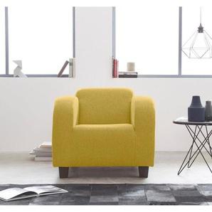 INOSIGN Sessel »Cuba«, mit geschwungenen Armlehnen, gelb, Struktur