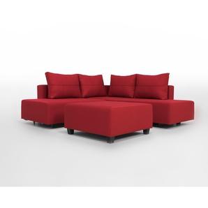 Gemini M - Kompaktes Ecksofa mit Schlaffunktion für 2 Erwachsen, rot, Webstoff, glatte Struktur