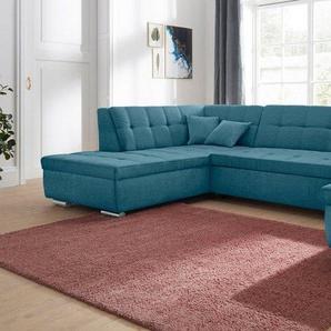 DOMO collection Wohnlandschaft, wahlweise mit Bettfunktion, grün, Luxus-Microfaser