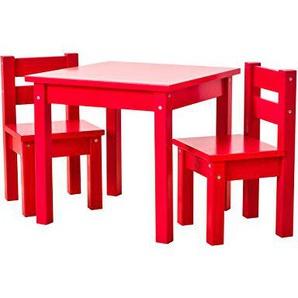 Hoppekids mit 1 Kindertisch und 2 Kinderstühle, teilmassiv sehr stabil, viele Farben, Holz, rot, 55 x 50 x 47 cm