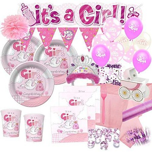 Kids Party World XXL 112 Teile Deluxe Baby Shower Deko Set Rosa Storch 16 Personen