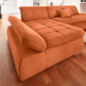 Domo Collection Ecksofa, orange, Recamiere links, B/H/T: 300x43x134cm, hoher Sitzkomfort