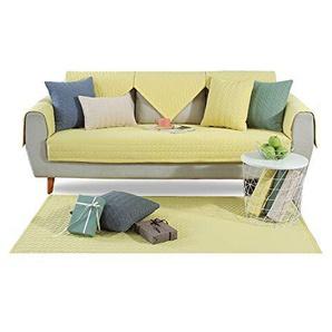 PETCUTE Sofabezüge Gesteppte Sofabezüge für Sofa Sofa Schutz Armlehnenbezug rutschhemmend Baumwollsofasitzbezüge Wohnzimmerteppich Gelb 110X180CM