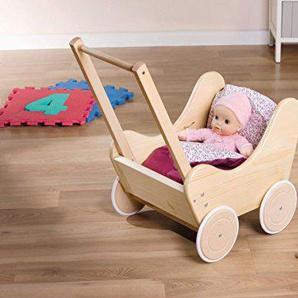 Holz Puppenwagen Lauflernwagen mit Bettwäsche
