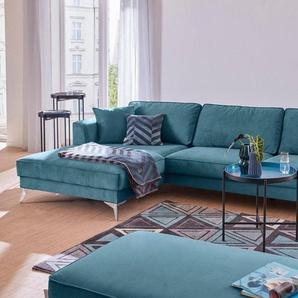 Guido Maria Kretschmer Home&Living Ecksofa »Juta«, modern, mit hochwertigen Metallfüßen, blau, Luxus-Microfaser