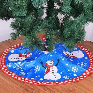 Weihnachtsbaum Decke, Schneemann Weihnachtsbaum Rock Dekoration Blau Plüsch Weihnachtsbaumdecke Schneeflocken Weihnachtsbaum Röcke Weihnachtsschmuck Weihnachtsbaum Deko Weihnachtsdeko (A-Blau#80cm)