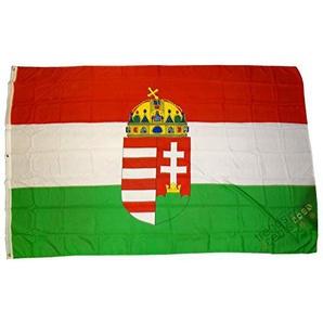 Flagge Fahne ca. 90x150 cm : Ungarn mit Wappen Emblem Ungarnfahne