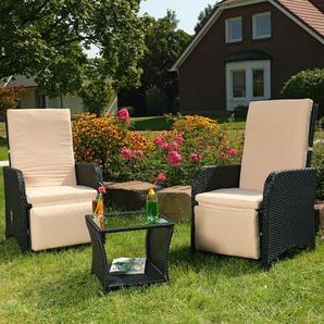 Polyrattan Gartenset 2 Sessel + Tisch schwarz Sitzgarnitur Gartenmöbel Stuhl - MUCOLA