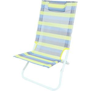 Faltstuhl mit Textilene Bezug und Kopfkissen, blau gelb - MEERWEH