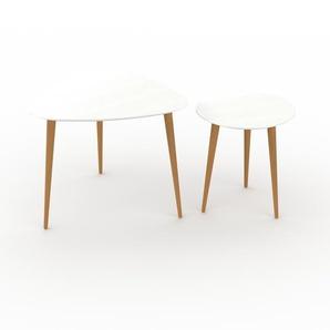 Couchtisch Weiß - Eleganter Sofatisch: Beste Qualität, einzigartiges Design - 59/40 x 50/44 x 61/40 cm, Konfigurator