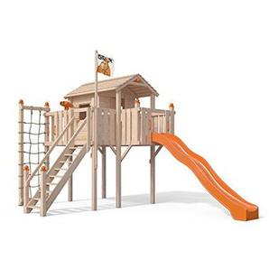 Terrizio XL-Spielturm Baumhaus mit Rutsche und Sicherheitstreppe, Kletternetz und Spielhaus auf 1,50 Meter Podesthöhe (Orange)