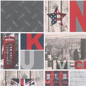 Papiertapete »Boys and Girls New York City«, gemustert, mehrfarbig, mit Schrift, Stadt, urban, geprägt