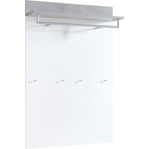 Garderobenpaneel Weiß/Beton-Optik ca. 96 x 147 x 29 cm