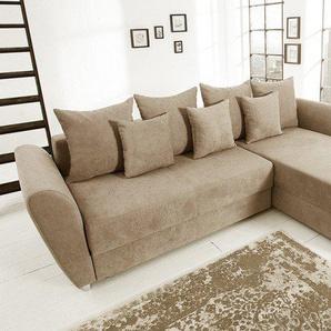 Modernes Ecksofa PALMA 265cm Soft Baumwolle greige Federkern Schlaffunktion