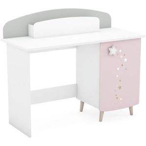 Kinderzimmer - Schreibtisch Ines 09, Farbe: Weiß / Rosa / Grau - Abmessungen: 95 x 113 x 50 cm (H x B x T)
