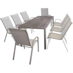 9tlg Sitzgruppe Gartentisch, Aluminiumrahmen, Polywood Tischplatte champagner, 205x90cm + 8x Stapelstuhl, Textilengewebe champagner - MULTISTORE 2002