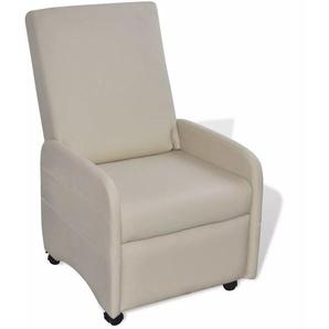 Ausklappbarer Sessel Creme Kunstleder - VIDAXL