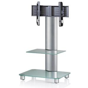 VCM TV-Standfuß LED Ständer Fernseh Standfuss Alu Glas Universal Silber VESA Mobil Rollen Bilano Zwischenboden