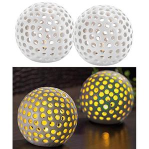 Lunartec Keramikkugeln mit Licht: Kabellose LED-Dekoleuchten aus Keramik im 2er-Set (LED Kugeln)