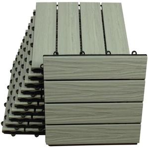 WPC Bodenfliesen 30 x 30cm grau profiliert 2 m² - TOP MULTISHOP