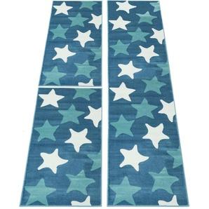 Carpet City Bettumrandung »Inspiration 5813«, 14 (2x Brücke 150x80 cm & 1x Läufer 300x80 cm), 11 mm Gesamthöhe, blau