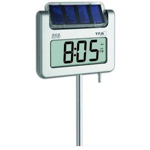 TFA Dostmann Digitales Gartenthermometer mit Solarbeleuchtung und Funkuhr »AVENUE PLUS«