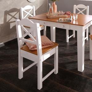 Home affaire Essgruppe »Vanda« weiß, Tisch 120cm breit + 4 Stühle, FSC®-zertifiziert