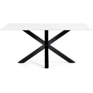 Esstisch in Weiß Schwarz Stahl