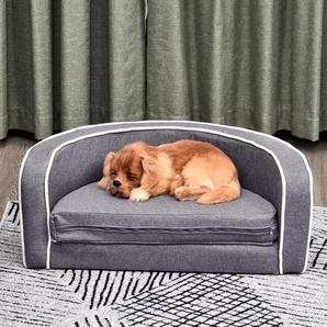 PawHut® Hundesofa Rundes Hundebett Klappbare Hundematte Haustiersofa Leinen Grau