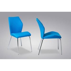 Stuhl RAMONA Lederlook Blau