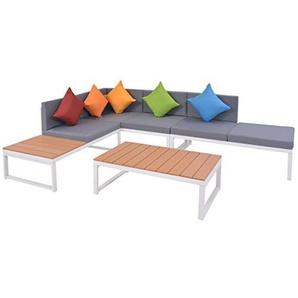 vidaXL Garten Ecksofagarnitur 19-tlg. Alu Aluminium WPC Sofa Lounge Gartensofa