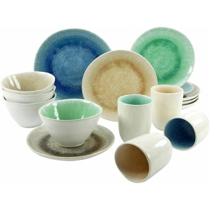 CreaTable Kombiservice Steinzeug 16 Teile »Aquarius«, grau, Gr. onesize, CREATABLE, Material: Sand