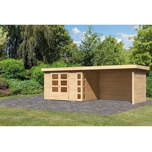 """Gartenhaus-Set """"Kerko 4"""" mit Anbaudach 2,8 m mit Seiten- und Rückwand , naturbelassen"""