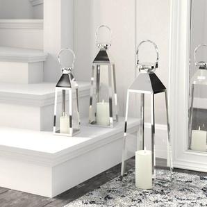 3-tlg. Laternen-Set Venedig aus Metall und Glas