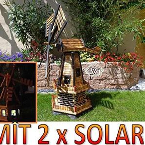 XXL windmühle, Gartenwindmühle 100 cm, zweistöckig 2 Balkone aus Holz, garten windmühlen, MIT SOLAR - AUTOMATIK / Solarleuchten + Solarmodul, Solarbeleuchtung DOPPEL-SOLAR LICHT WMH100ng-MS 1m groß in schwarz / dunkel feuer-geflammt (echt geflammt /