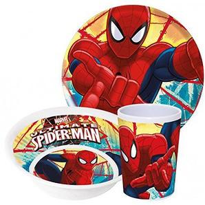Marvel Spiderman Kinderservice mit Teller, Müslischüssel und Trinkbecher aus Melamin
