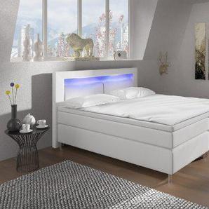 Boxspringbett 140x200 mit LED Beleuchtung und Chromleiste Hotelbett Doppelbett Polsterbett Ehebett amerikanisches Bett Chrom Modell Brüssel Typ 1 (140x200)