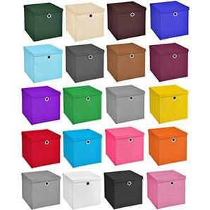 2x Aufbewahrungs Korb Hellblau Faltbox 28 x 28 x 28 cm Regalkorb von Stick&Shine faltbar mit Deckel