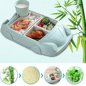 Comaie® Kinder-Bamboo Dinner Set, umweltfreundlich, spülmaschinenfest Kinder Essen Weihnachts-Teller Geschirr-Faser-car-shaped Wasser zu trinken von Teller Schale, Tasse blau