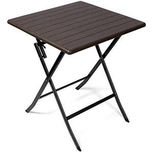 Vanage Beistelltisch in braun - eckiger Gartentisch in Holzoptik - Kunststofftisch für Garten, Terrasse und Balkon geeignet - Bistrotisch mit Stahlgestell