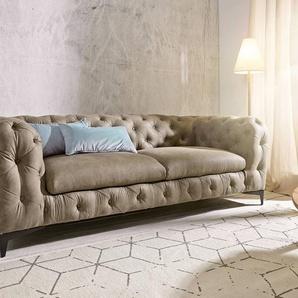 Couch Corleone 3-Sitzer Taupe Vintage, 3 Sitzer
