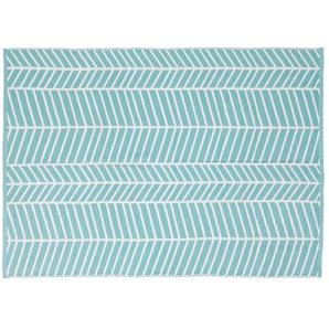 Blauer Outdoor-Teppich mit weißen grafischen Motiven 140x200