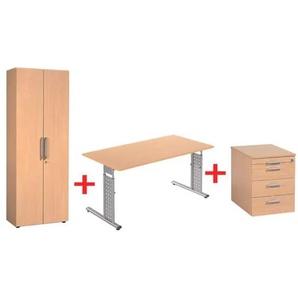 Möbel-Set »New York« 3-teilig, Schreibtisch mit C-Fuß, Rollcontainer und Schrank buche, Geramöbel