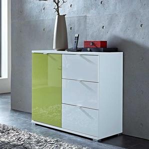 Design Kommode in Grün Hochglanz Weiß