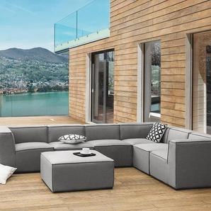 Lounge Set grau 7-Sitzer AREZZO II