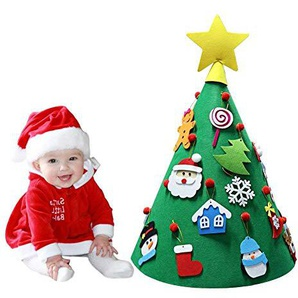 Ideapark Filz Weihnachtsbaum DIY Filz Weihnachtsbaum Set mit 17 Pcs Ornamenten für Kinder Deko Weihnachten Weihnachtsspiel Kinder Pädagogisches Spielzeug Wand Dekor mit Hängenden Seil (A)