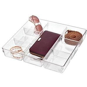 iDesign Linus Schubladenbox für Schrank oder Schminktisch, 33,0 cm x 34,3 cm x 5,7 cm Aufbewahrungsbox mit 7 Fächern aus Kunststoff, durchsichtig